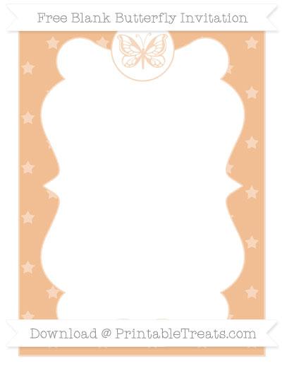 Free Pastel Orange Star Pattern Blank Butterfly Invitation
