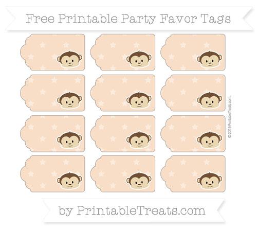 Free Pastel Orange Star Pattern Boy Monkey Party Favor Tags