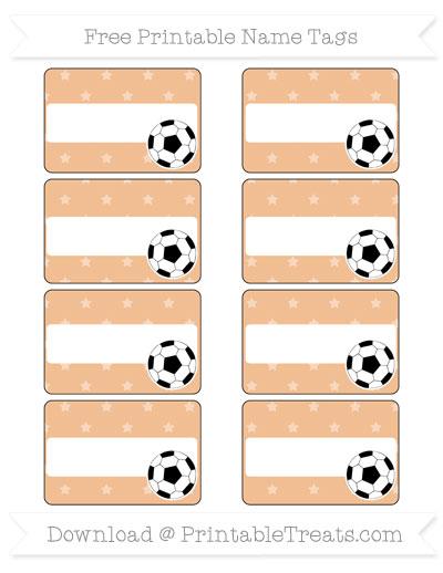 Free Pastel Orange Star Pattern Soccer Name Tags
