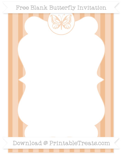 Free Pastel Orange Striped Blank Butterfly Invitation