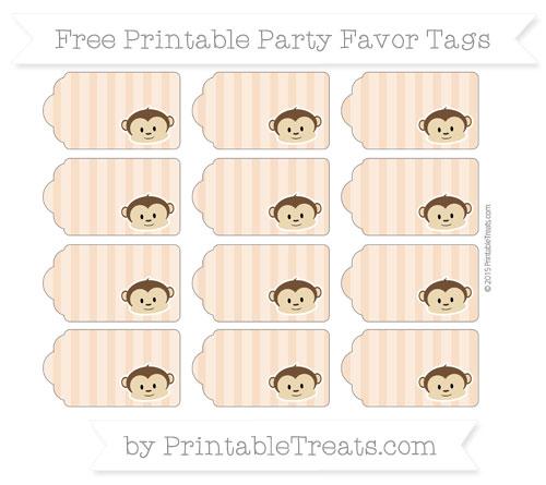 Free Pastel Orange Striped Boy Monkey Party Favor Tags