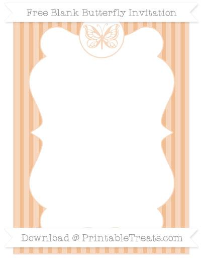 Free Pastel Orange Thin Striped Pattern Blank Butterfly Invitation