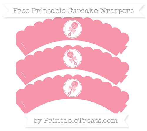 Free Pastel Pink Baby Rattle Scalloped Cupcake Wrappers