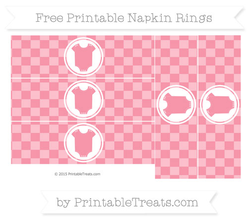 Free Pastel Pink Checker Pattern Baby Onesie Napkin Rings