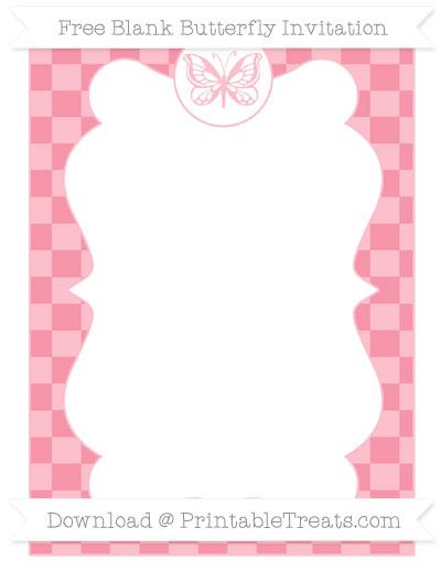 Free Pastel Pink Checker Pattern Blank Butterfly Invitation