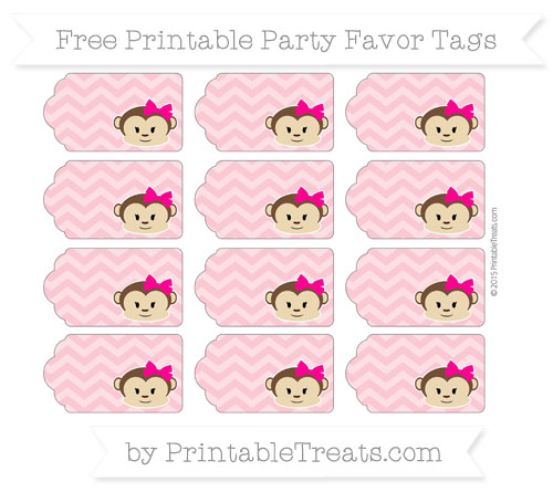 Free Pastel Pink Chevron Girl Monkey Party Favor Tags