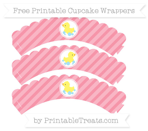 Free Pastel Pink Diagonal Striped Baby Duck Scalloped Cupcake Wrappers
