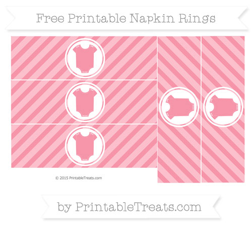 Free Pastel Pink Diagonal Striped Baby Onesie Napkin Rings