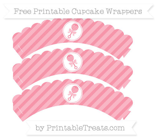 Free Pastel Pink Diagonal Striped Baby Rattle Scalloped Cupcake Wrappers