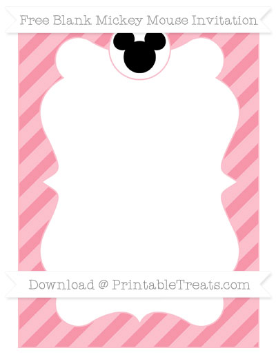 Free Pastel Pink Diagonal Striped Blank Mickey Mouse Invitation