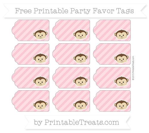 Free Pastel Pink Diagonal Striped Boy Monkey Party Favor Tags