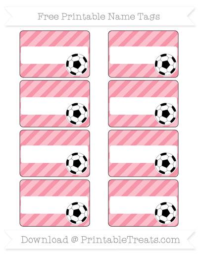 Free Pastel Pink Diagonal Striped Soccer Name Tags