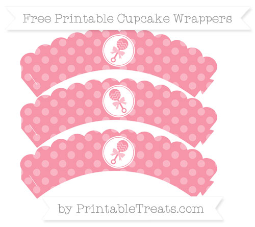 Free Pastel Pink Dotted Pattern Baby Rattle Scalloped Cupcake Wrappers
