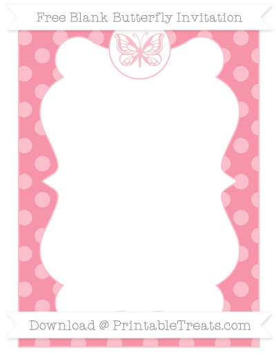 Free Pastel Pink Dotted Pattern Blank Butterfly Invitation