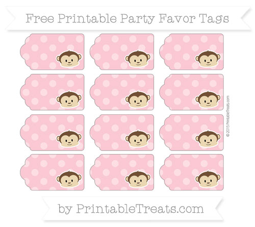 Free Pastel Pink Dotted Pattern Boy Monkey Party Favor Tags