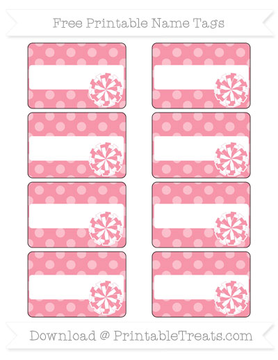 Free Pastel Pink Dotted Pattern Cheer Pom Pom Tags