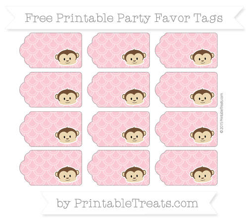 Free Pastel Pink Fish Scale Pattern Boy Monkey Party Favor Tags