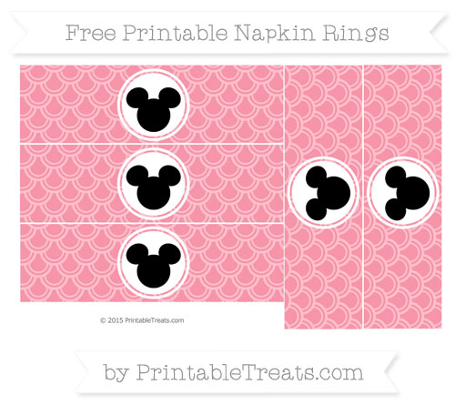 Free Pastel Pink Fish Scale Pattern Mickey Mouse Napkin Rings