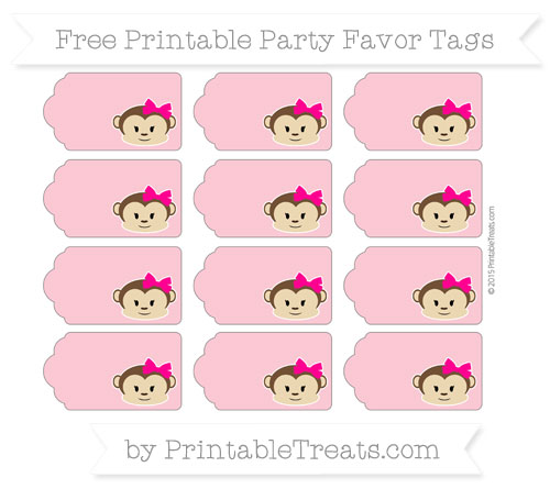Free Pastel Pink Girl Monkey Party Favor Tags