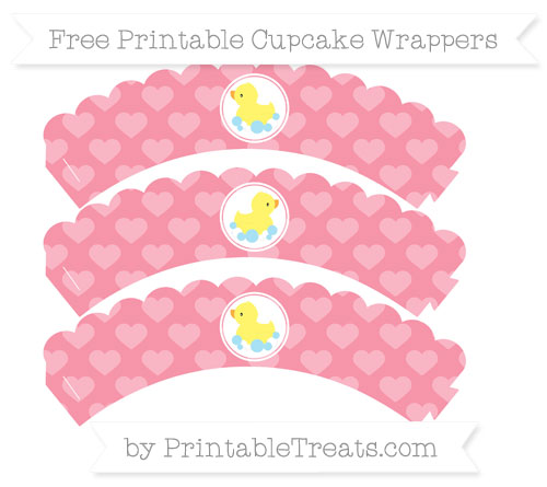Free Pastel Pink Heart Pattern Baby Duck Scalloped Cupcake Wrappers