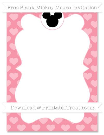 Free Pastel Pink Heart Pattern Blank Mickey Mouse Invitation