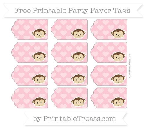 Free Pastel Pink Heart Pattern Boy Monkey Party Favor Tags