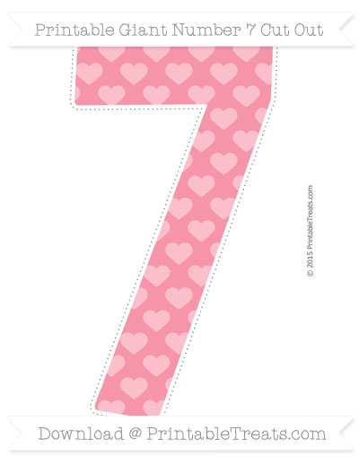 Free Pastel Pink Heart Pattern Giant Number 7 Cut Out