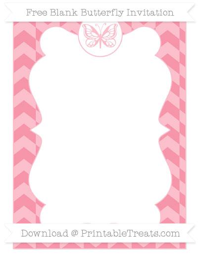 Free Pastel Pink Herringbone Pattern Blank Butterfly Invitation