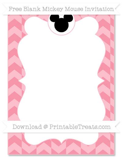 Free Pastel Pink Herringbone Pattern Blank Mickey Mouse Invitation