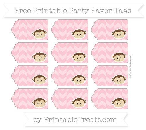 Free Pastel Pink Herringbone Pattern Boy Monkey Party Favor Tags