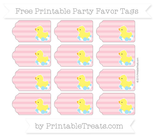Free Pastel Pink Horizontal Striped Baby Duck Party Favor Tags