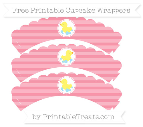 Free Pastel Pink Horizontal Striped Baby Duck Scalloped Cupcake Wrappers