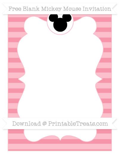 Free Pastel Pink Horizontal Striped Blank Mickey Mouse Invitation