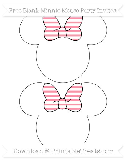 Free Pastel Pink Horizontal Striped Blank Minnie Mouse Party Invites