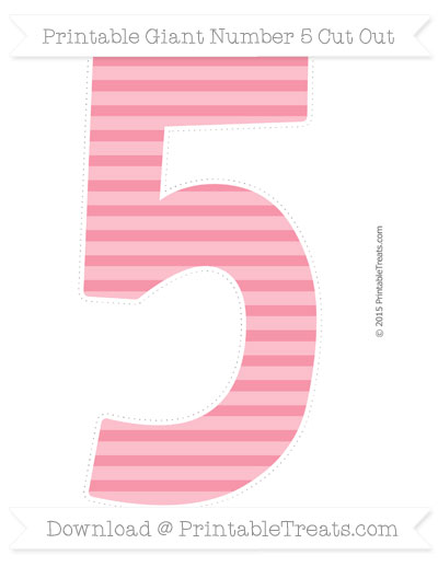 Free Pastel Pink Horizontal Striped Giant Number 5 Cut Out