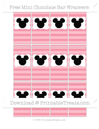 Free Pastel Pink Horizontal Striped Mickey Mouse Mini Chocolate Bar Wrappers
