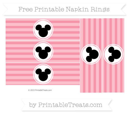 Free Pastel Pink Horizontal Striped Mickey Mouse Napkin Rings