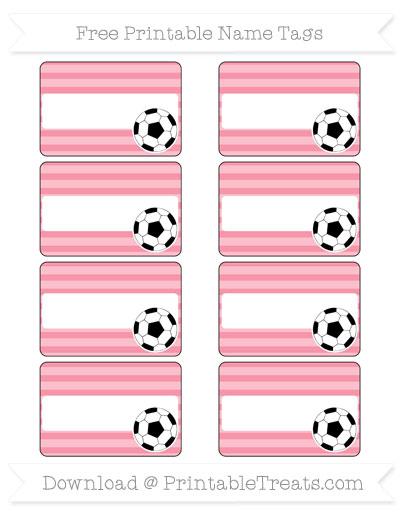 Free Pastel Pink Horizontal Striped Soccer Name Tags