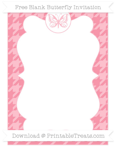 Free Pastel Pink Houndstooth Pattern Blank Butterfly Invitation