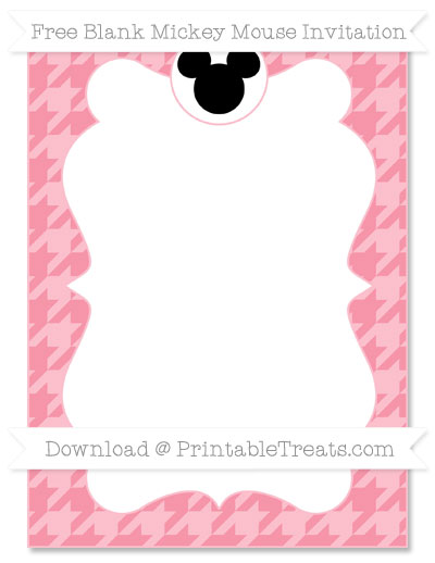 Free Pastel Pink Houndstooth Pattern Blank Mickey Mouse Invitation