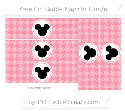 Free Pastel Pink Herringbone Pattern Mickey Mouse Napkin Rings
