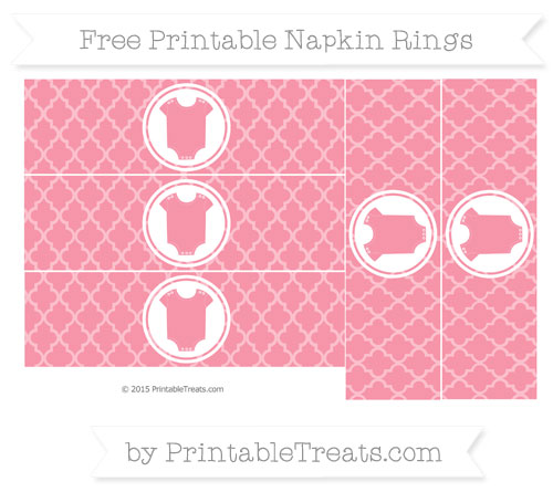 Free Pastel Pink Moroccan Tile Baby Onesie Napkin Rings