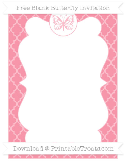 Free Pastel Pink Moroccan Tile Blank Butterfly Invitation