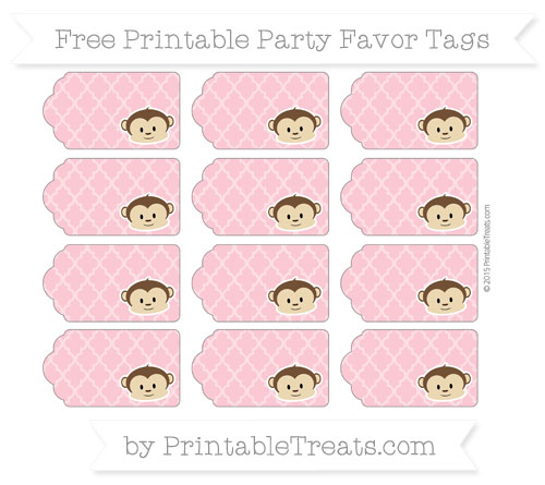 Free Pastel Pink Moroccan Tile Boy Monkey Party Favor Tags