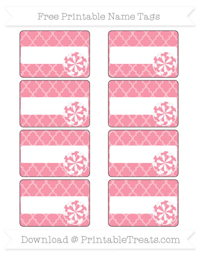 Free Pastel Pink Moroccan Tile Cheer Pom Pom Tags