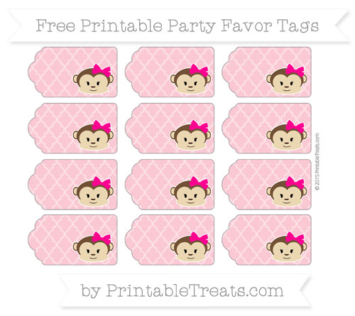 Free Pastel Pink Moroccan Tile Girl Monkey Party Favor Tags