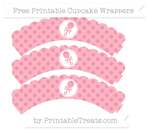 Free Pastel Pink Polka Dot Baby Rattle Scalloped Cupcake Wrappers