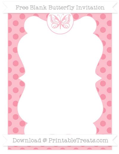 Free Pastel Pink Polka Dot Blank Butterfly Invitation