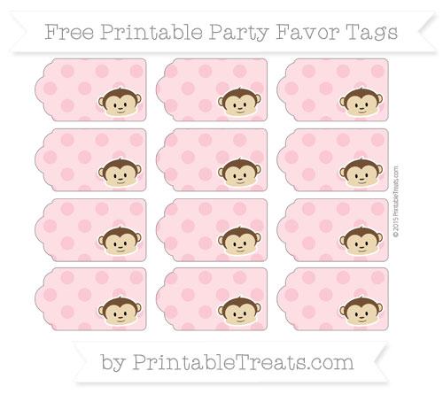 Free Pastel Pink Polka Dot Boy Monkey Party Favor Tags