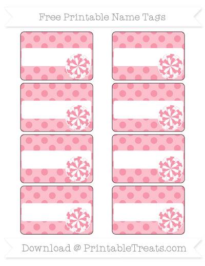 Free Pastel Pink Polka Dot Cheer Pom Pom Tags